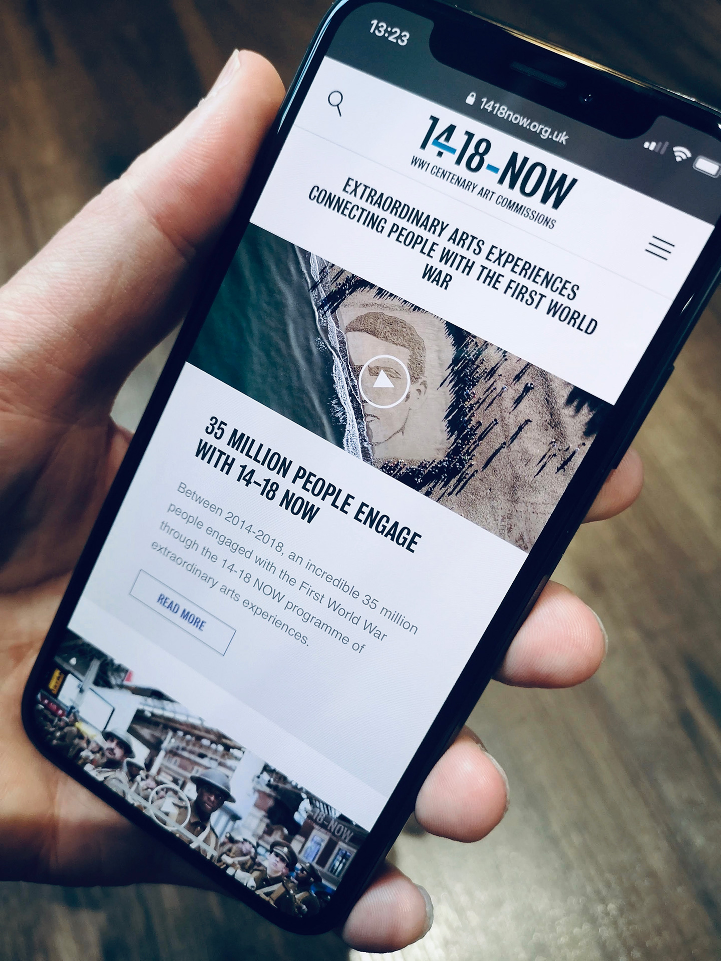 14-18 NOW website on a smartphone