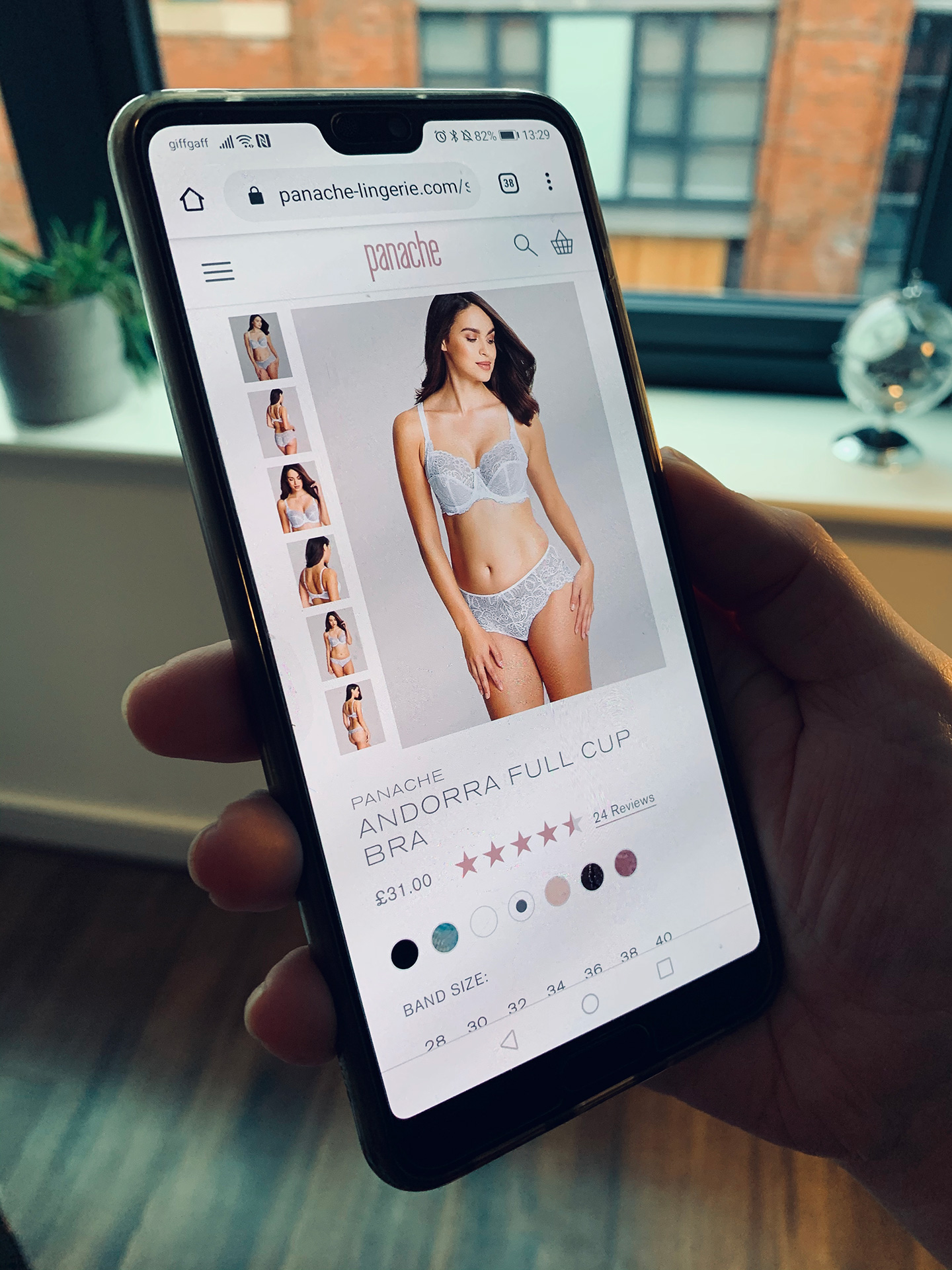 Panache Lingerie website on a smartphone